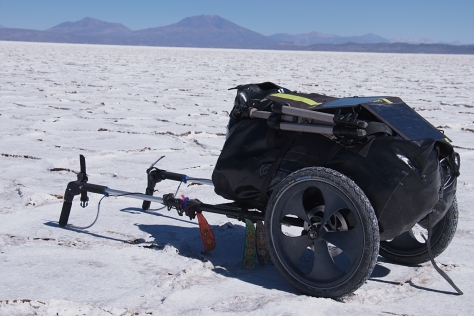 My hiking trailer (Benpacker) in the Salar de Uyuni