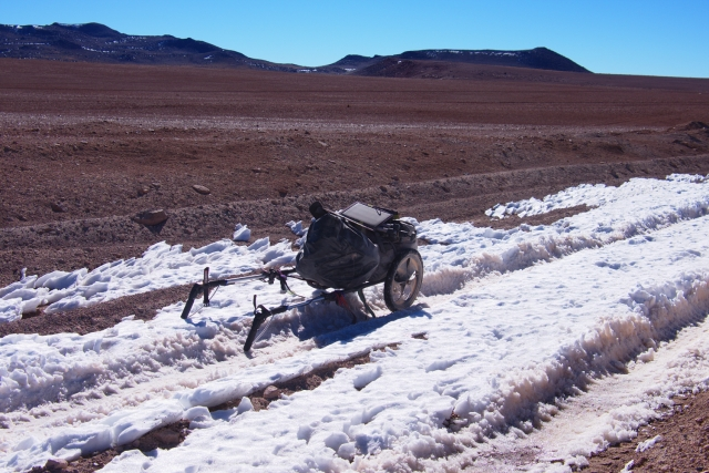 Crossing small snow fields on the Altiplano