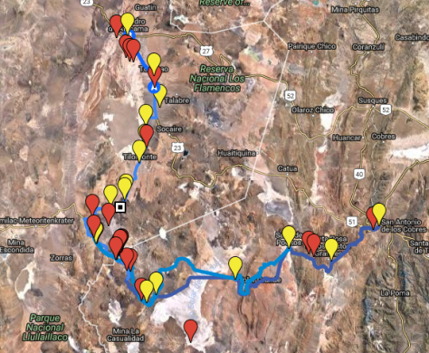 Rough overview of the tracks and alternatives I prepared beforehand for crossing the Andes via Paso Socompa