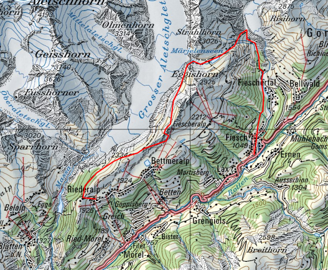 Map of the Aletsch Glacier Panorama Hike