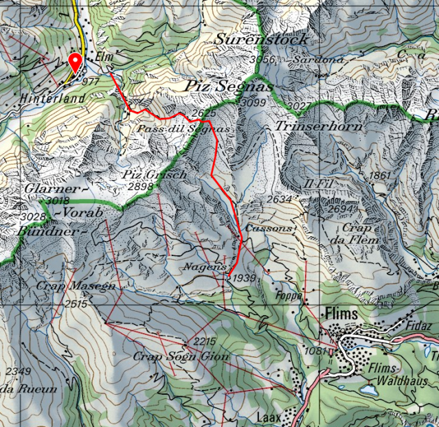 Map of Hiking the Segnapass and Packrafting the Vorderrhein