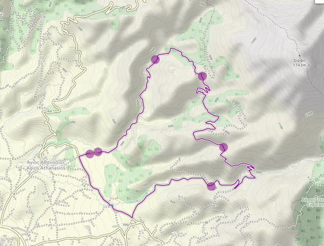 Map of extended Agali Gorge Hike