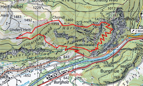 Map of the MittagflueTrail (source: https://map.geo.admin.ch)