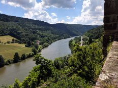 View on the Neckar River from Castle Zwingenberg