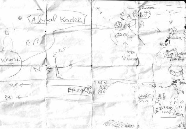 Our hand-made map of finding the oasis - we actually followed it.