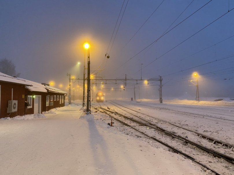 Morning mood at trainstation in Lulea