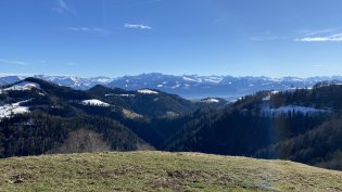View from Hüttchopf (1232m) towards the Alps