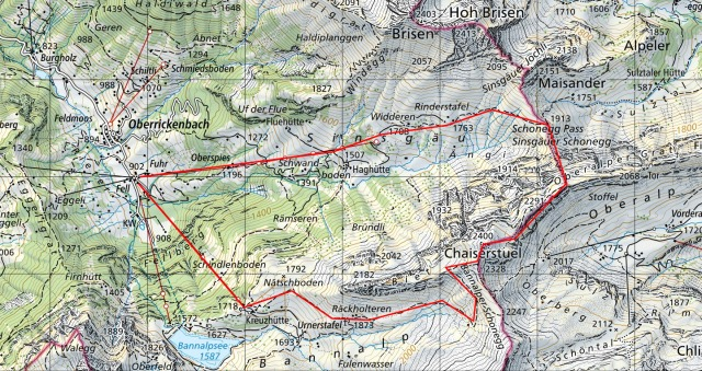 Map Overview of our Chaiserstuel trail - source: map.geo.admin.ch