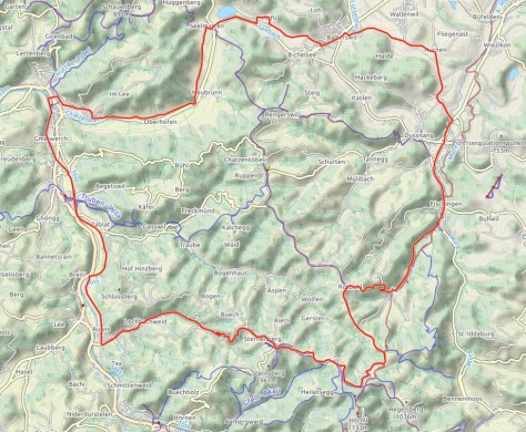 Map of the Turbenthal round trip by bike