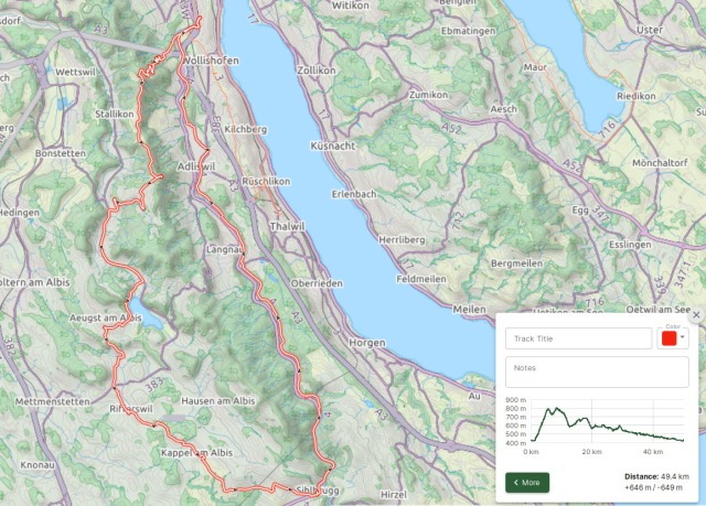 Map of the Cycle Round Trip around the Albis Mountain Range close to Zurich
