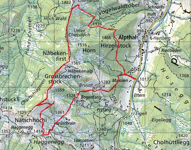 Map of Alpthal Hike - Source: https://map.geo.admin.ch